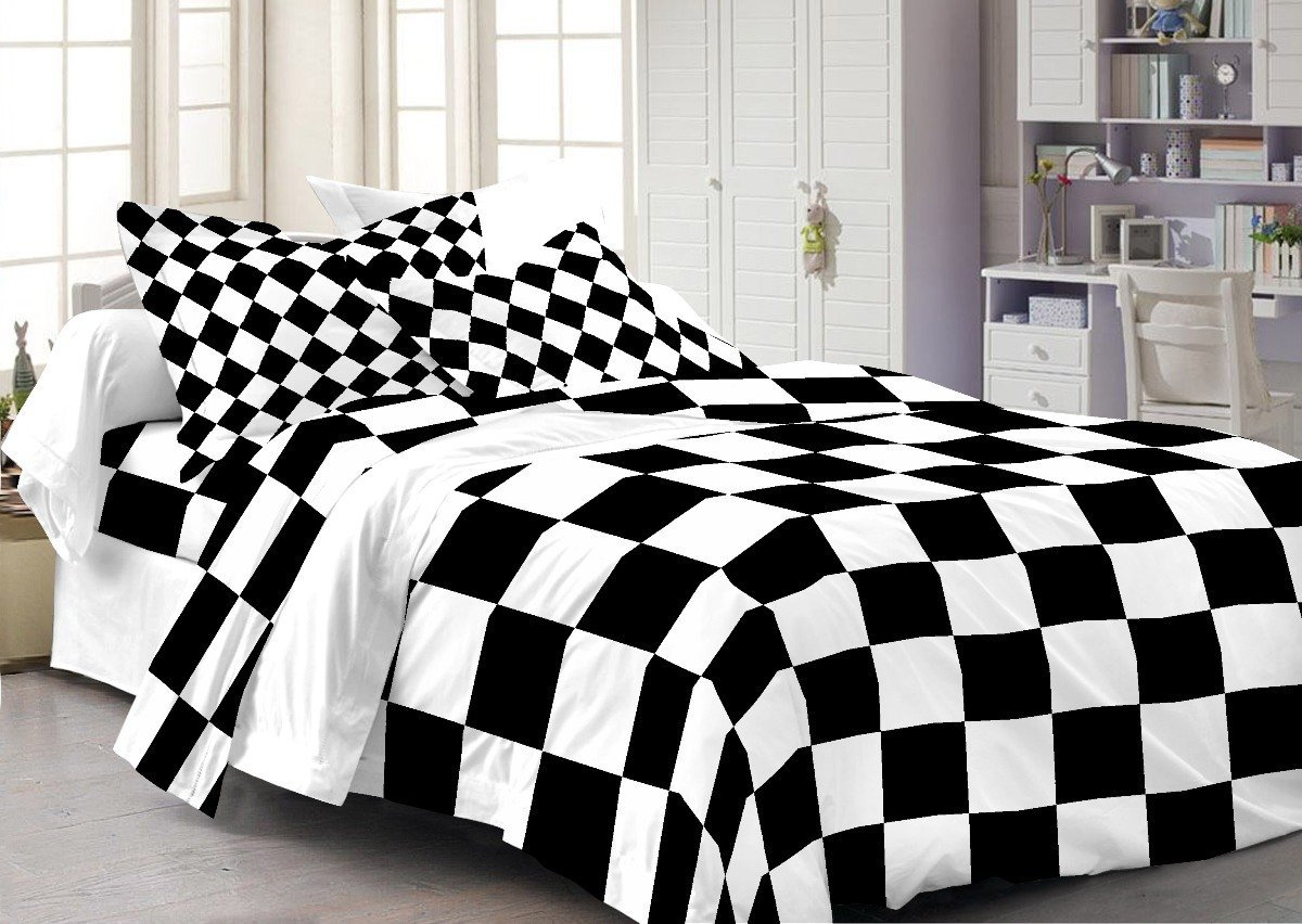 Cenizas Cotton Geometric Double Bed sheet