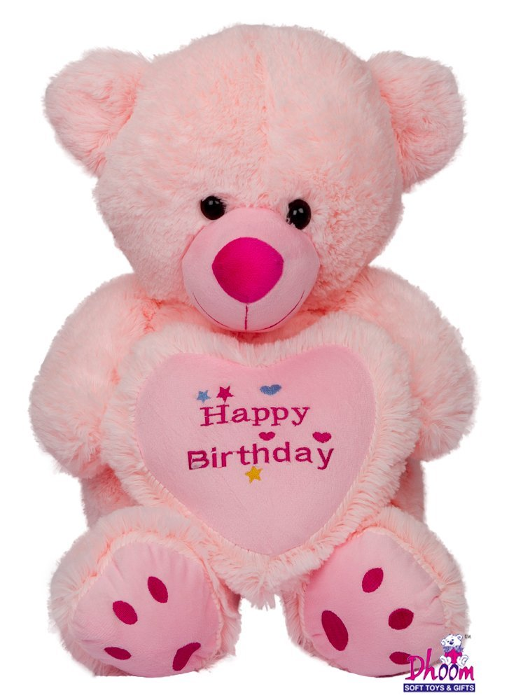 Dhoom Soft Toys Teddy Bear Pink with Happy Birthday Caption