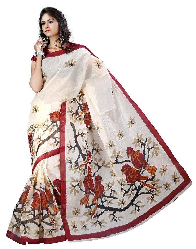E-Vastram Digital Printed Poly Cotton Saree
