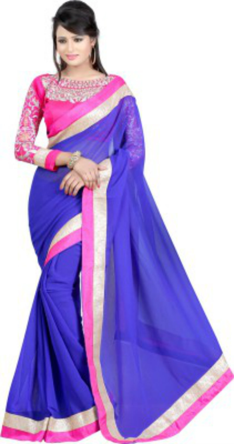 Fashiondeal Solid Fashion Chiffon Saree