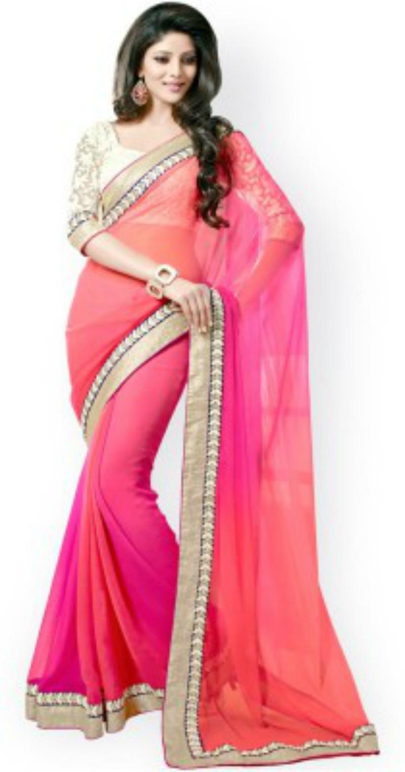 Gehna Self Design Fashion Georgette Sari