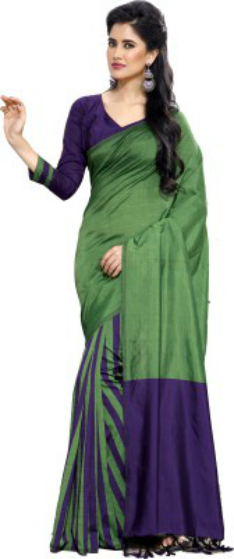 Ishin Solid Fashion Cotton Saree