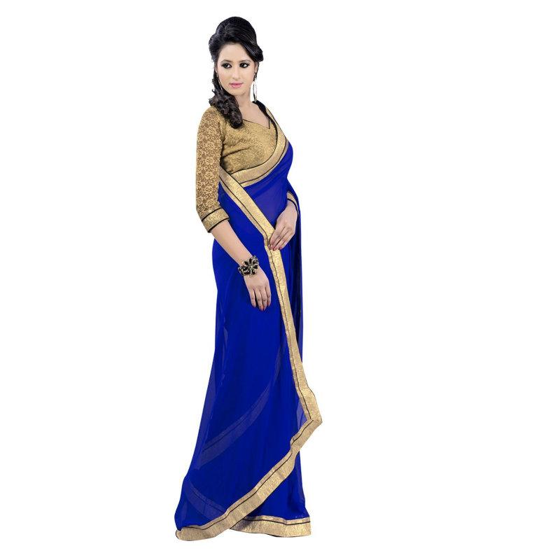 Janasya Blue Chiffon Saree