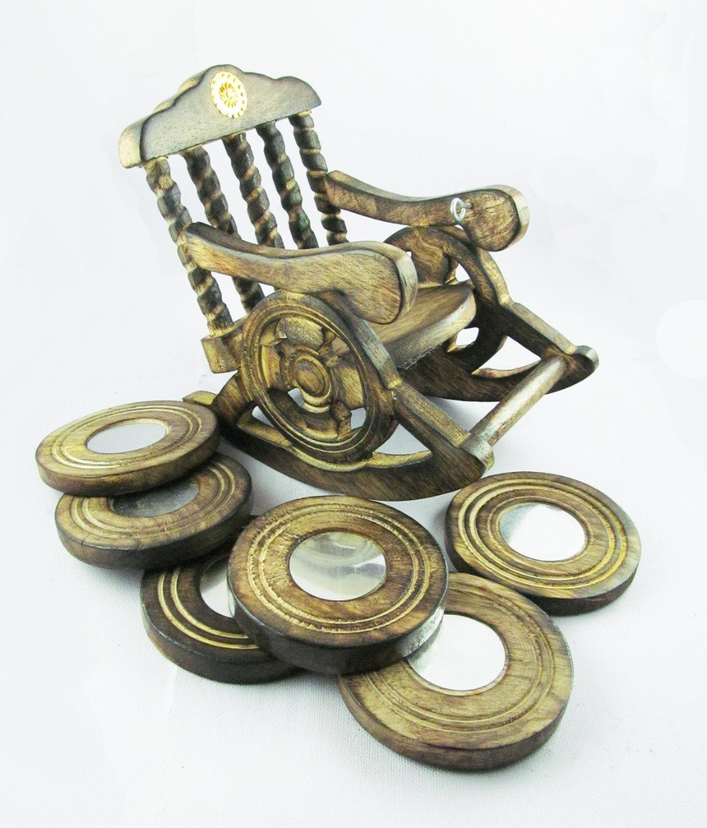 Pindia Fancy Rocking Chair Shaped Tea Coffee Wood Coaster Set