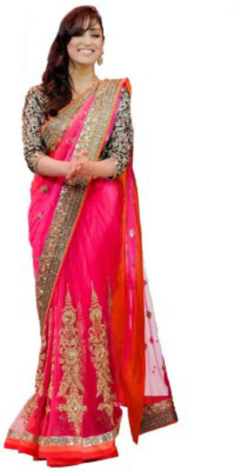 R V Collection Self Design Net Saree