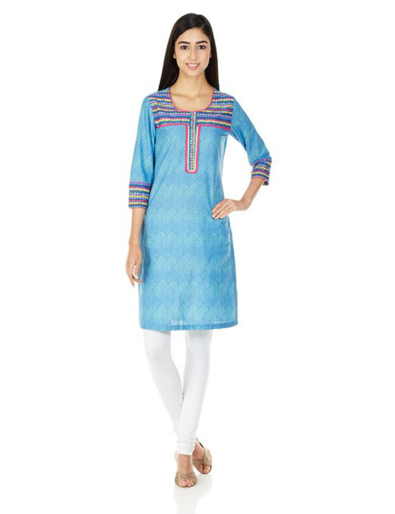 Rangriti Blue Cotton Kurta