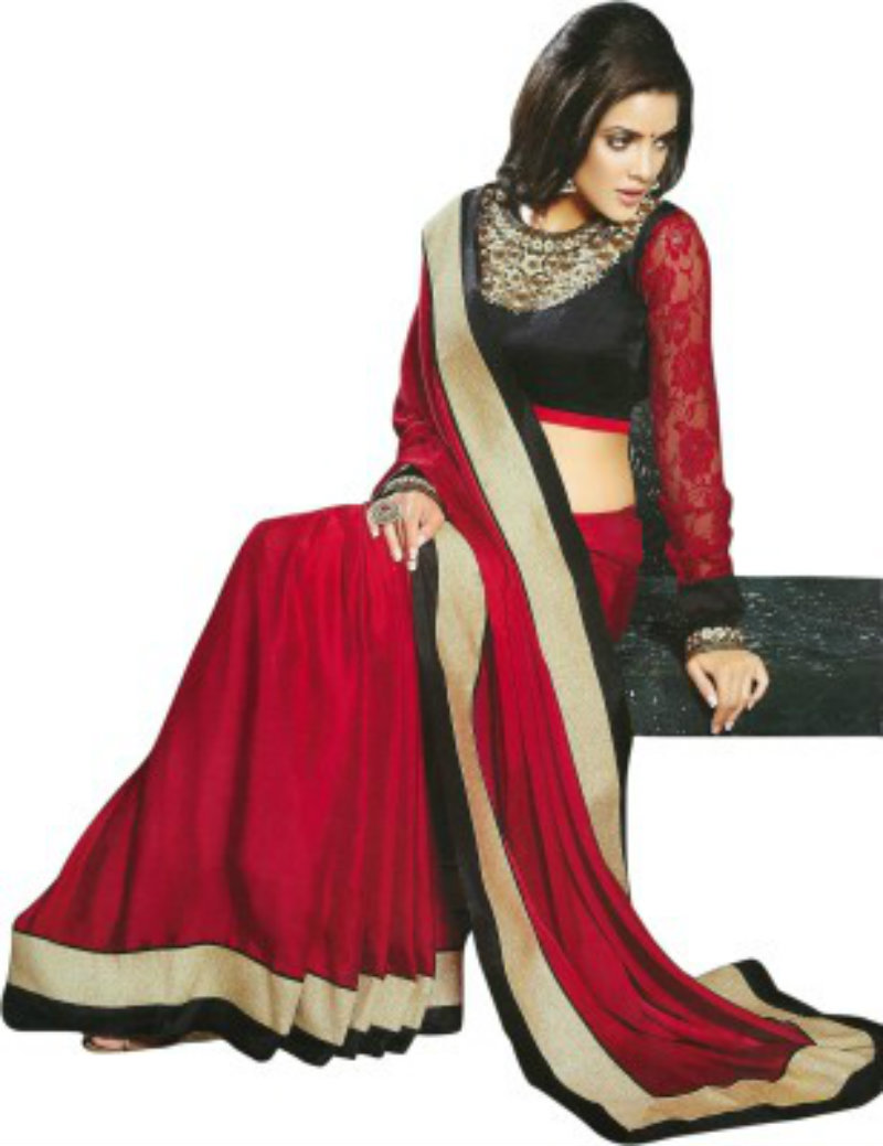 Saran Embriodered Fashion Chiffon Saree