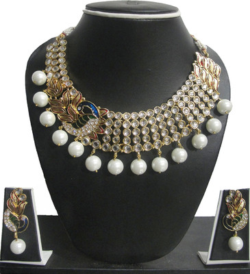 Zaveri Pearls peacock kundan pearl drop Alloy Jewel Set