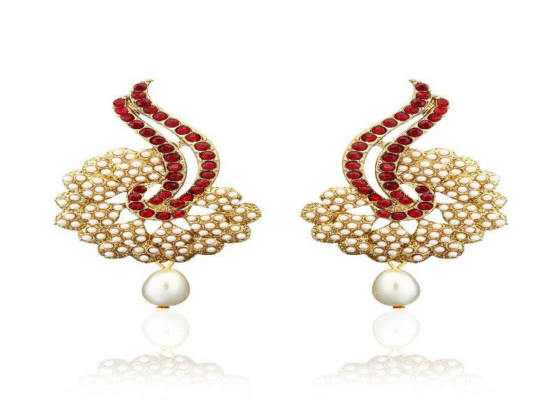 Zaveri Pearls Earring, Traditonal Pearls Earring