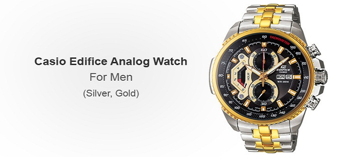Casio Edifice Analog (Silver, Gold) Watch - For Men